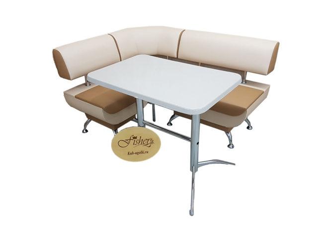 Кухонный уголок со столом «Лира-2» экокожа белый