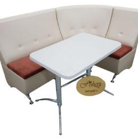 Кухонный уголок со столом «Луис» в белой ткани
