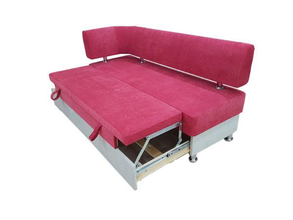 Кухонный уголок «Вероника-1» с подлокотником и спальным местом в ткани velvet lux